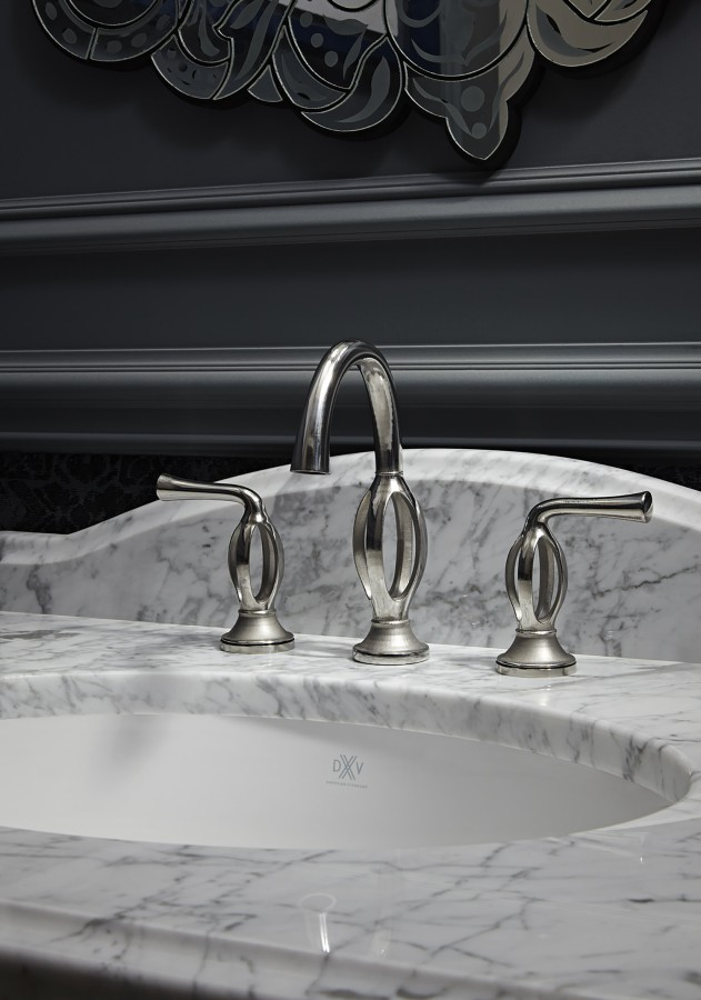 dxv hollow transitional widespread lav faucet with lever handles and gooseneck spout in pewter - the ultimate guide to luxury plumbing by the delight of design
