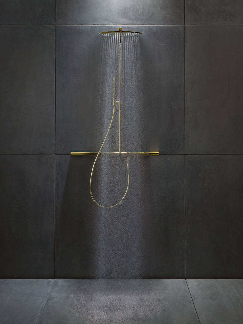 axor contemporary minimalist shower rail with rain head and handshower in unlacquered brass - the ultimate guide to luxury plumbing by the delight of design