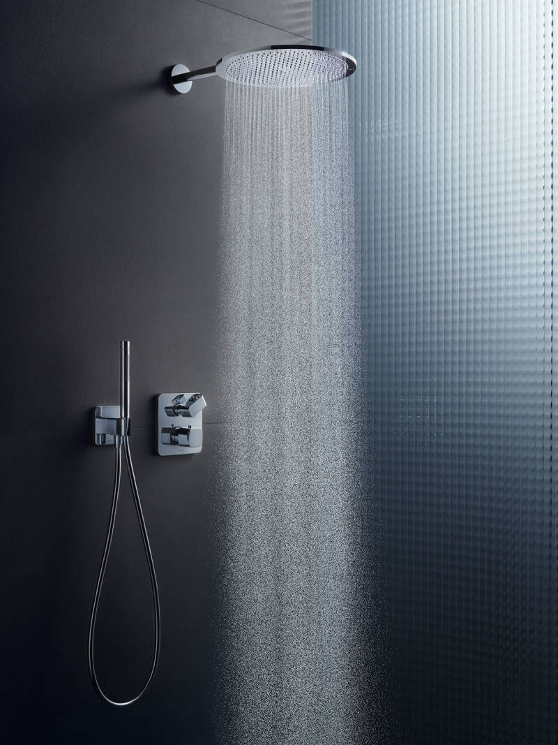 axor contemporary minimalist shower trim with rainhead and handshower in polished chrome - the ultimate guide to luxury plumbing by the delight of design