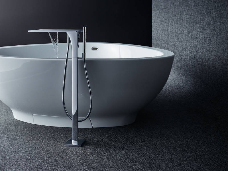 axor contemporary freestanding tub filler with waterfall flow and handshower in polished chrome - the ultimate guide to luxury plumbing by the delight of design