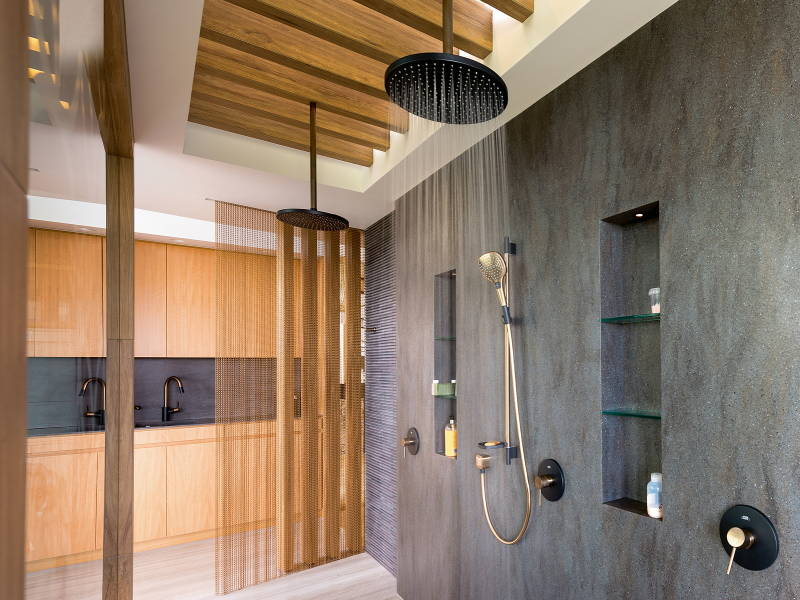 axor contemporary shower with rainhead and handshower in rose gold and black - the ultimate guide to luxury plumbing by the delight of design