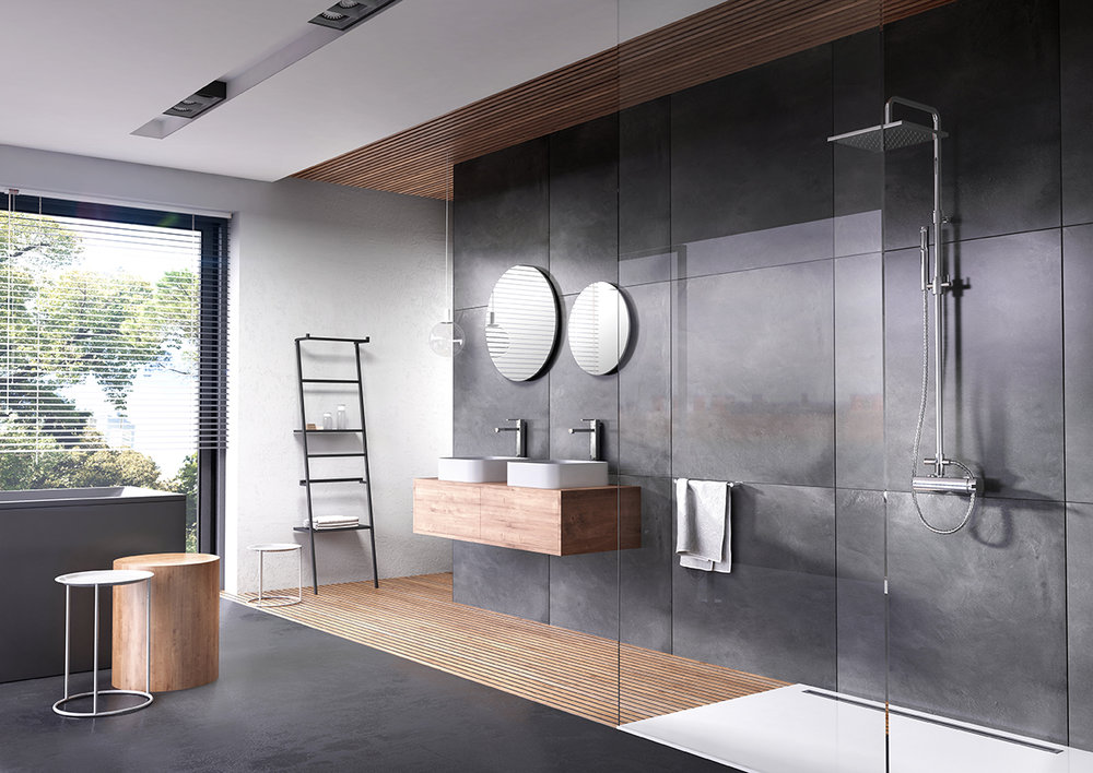 webert contemporary bathroom suite with single hole lav and square rainhead in polished chrome - the ultimate guide to luxury plumbing by the delight of design