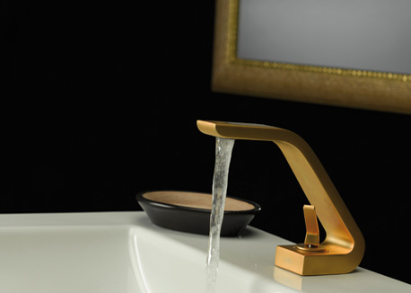 webert contemporary single hole lav faucet with joystick handle and curved spout in yellow gold - the ultimate guide to luxury plumbing by the delight of design