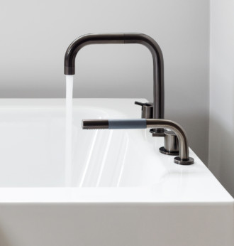 vola contemporary minimalist deck mount bath filler with handshower in black with lever handles and 90 degree spout - the ultimate guide to luxury plumbing by the delight of design