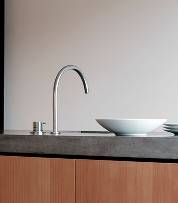 vola contemporary minimalist remote knob handle gooseneck spout kitchen faucet in brushed nickel - the ultimate guide to luxury plumbing by the delight of design