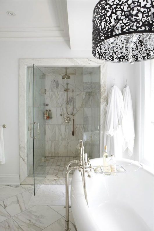 czech & speake traditional shower with rainhead and freestanding tub filler with porcelain lever handles in polished chrome - the ultimate guide to luxury plumbing by the delight of design