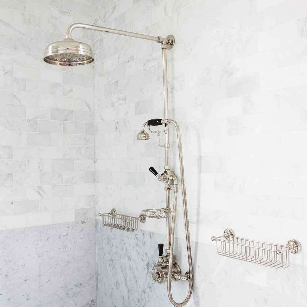 lefroy brooks traditional exposed thermostatic shower rail with rainhead and handshower black lever handles in polished nickel - the ultimate guide to luxury plumbing by the delight of design