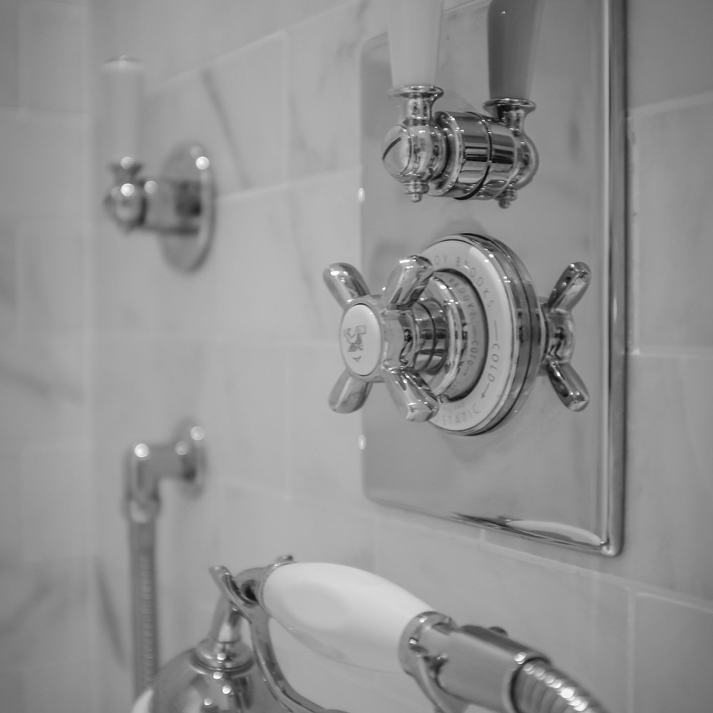 lefroy brooks shower trim and handshower with cross and lever handles and porcelain insets in polished chrome - the ultimate guide to luxury plumbing by the delight of design