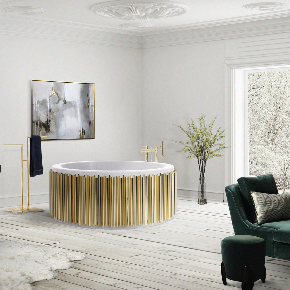 maison valentina contemporary freestanding tub filler and handshower and gold fluted tub in unlacquered brass - the ultimate guide to luxury plumbing by the delight of design