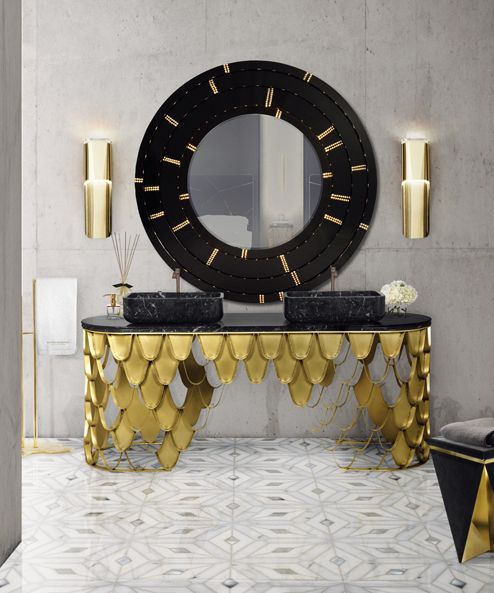 maison valentina baroque single hole vessel lav faucet and gold vanity in unlacquered brass - the ultimate guide to luxury plumbing by the delight of design