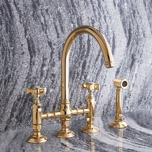 rohl three hole gooseneck kitchen bridge faucet with sidespray and cross handles in unlacquered brass - the ultimate guide to luxury plumbing by the delight of design