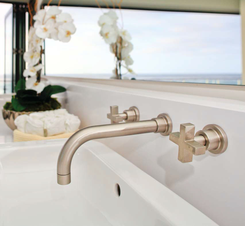 rohl contemporary widespread wall mounted lav faucet with cross handles and 90 degree spout in brushed satin gold - the ultimate guild to luxury plumbing by the delight of design