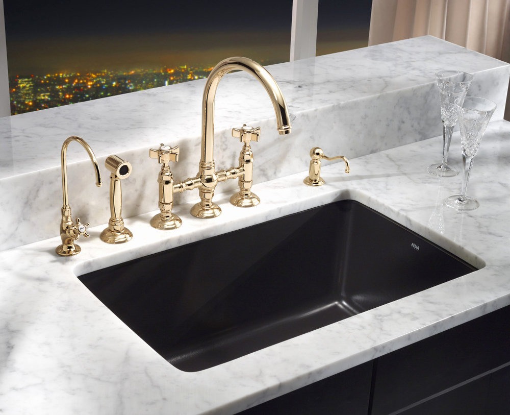 rohl traditional three hole bridge faucet with gooseneck spout and cross handles with sidespray and drinking faucet in polished gold - the ultimate guide to luxury plumbing by the delight of design