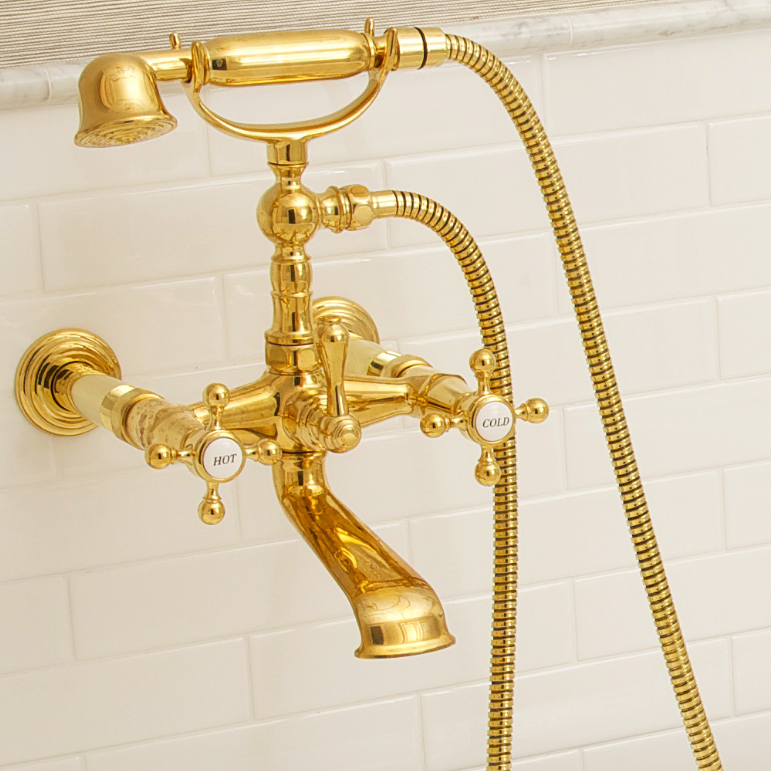 newport brass traditional wall mounted tub filler with cross handles and handshower in polished gold - the ultimate guide to luxury plumbing by the delight of design