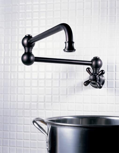 jaclo traditional swing arm pot filler with cross handle in black - the ultimate guide to luxury plumbing by the delight of design