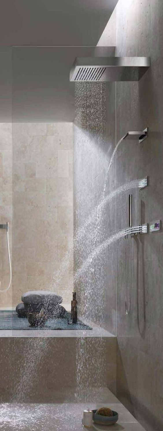 jaclo contemporary luxury spa shower system with waterfall spout and bodysprays in polished chrome - the ultimate guide to luxury plumbing by the delight of design