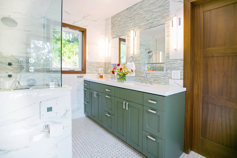 green vanity contemporary bathroom