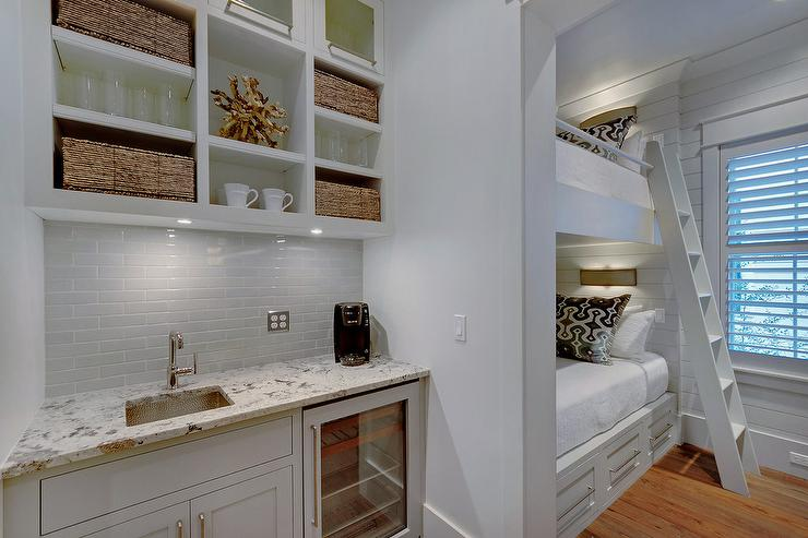 modern coffee bar in bedroom with built in bunk beds