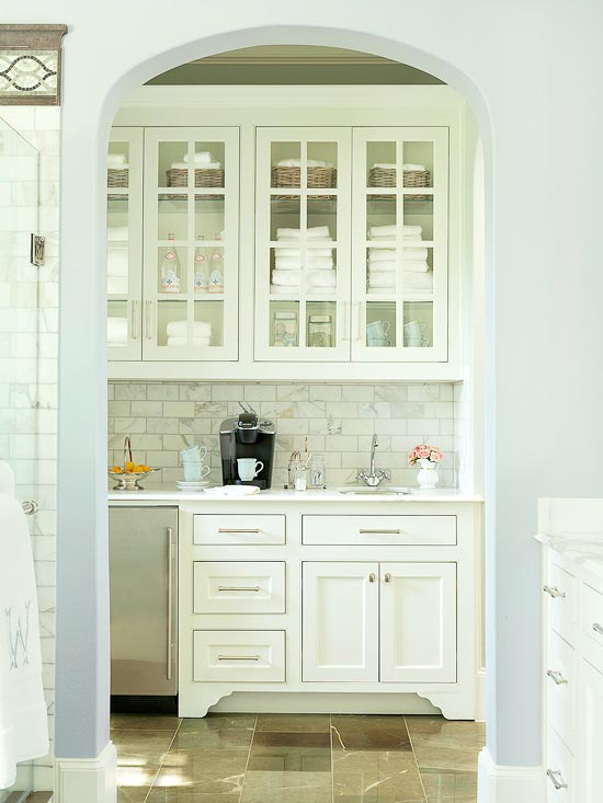 beautiful transitional and fresh coffee bar in master suite