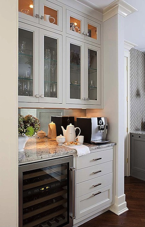 contemporary coffee bar in master suite