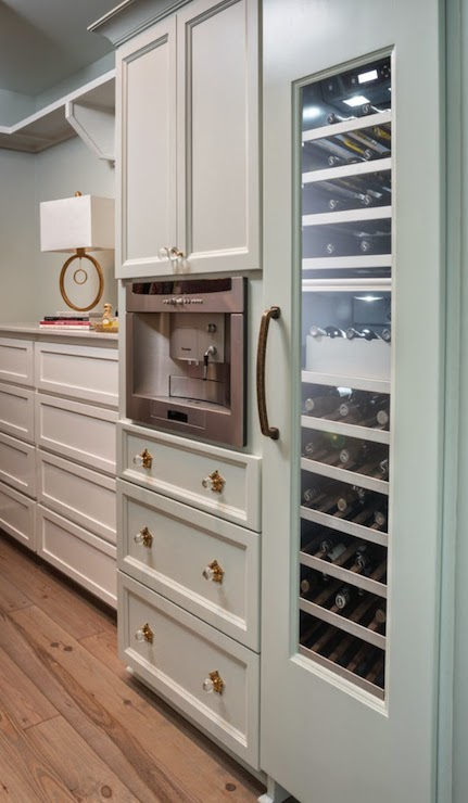 coffee bar in master suite closet built in espresso machine
