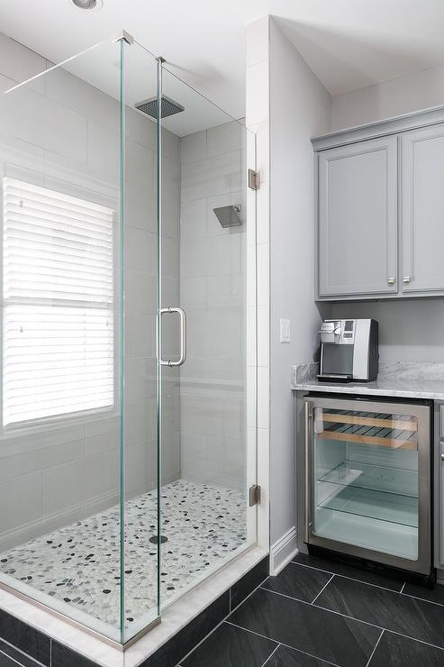 contemporary coffee station in master bathroom
