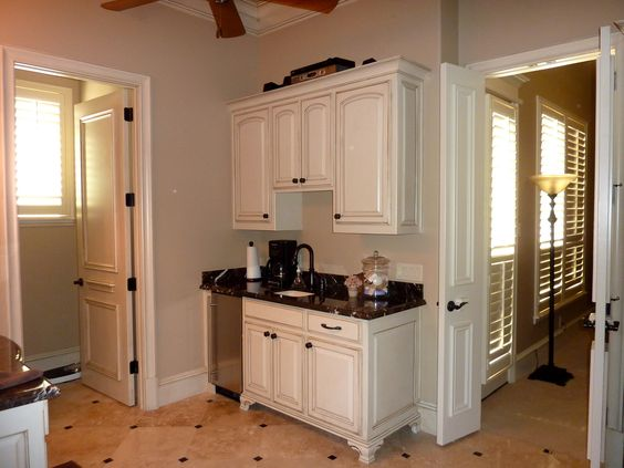traditional coffee bar in master suite