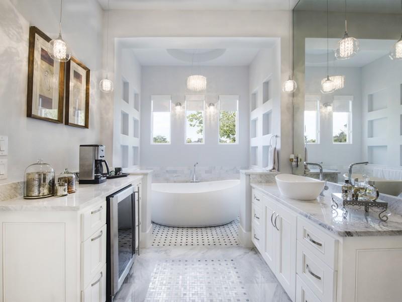 contemporary master bathroom with coffee bar