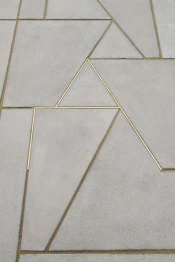 cement tile with gold metallic grout