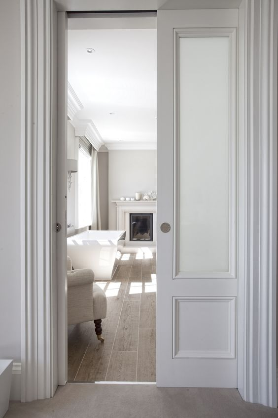 traditional white pocket door frosted glass