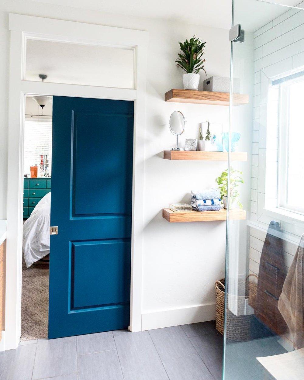 blue pocket door