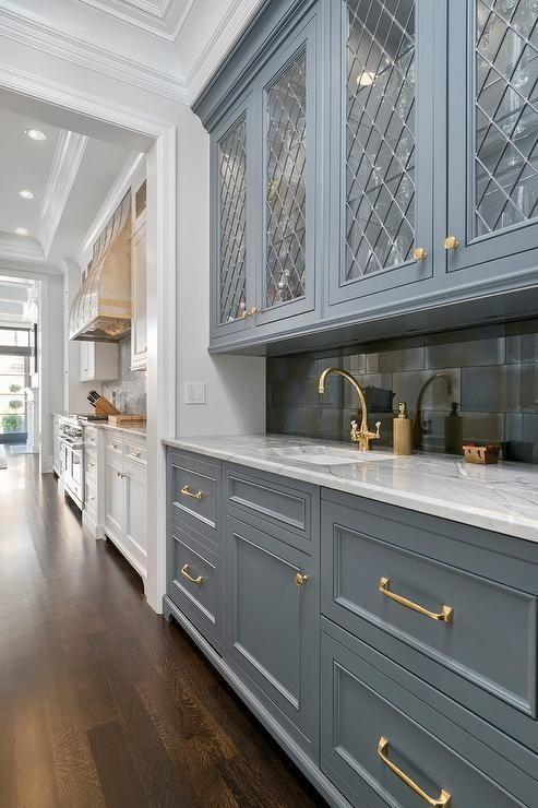 leaded glass diamond blue cabinets brass pull