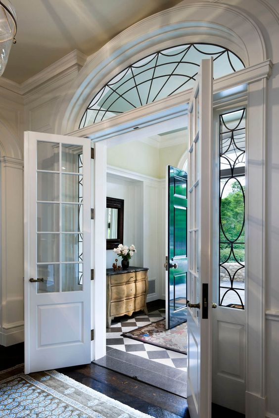 leaded glass fixed panel white