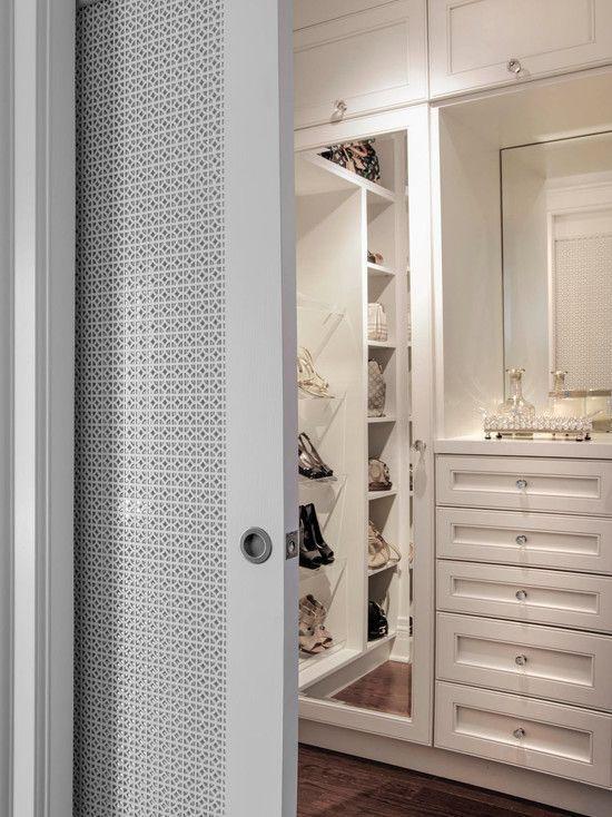 light grey pocket door with decorative mesh insert