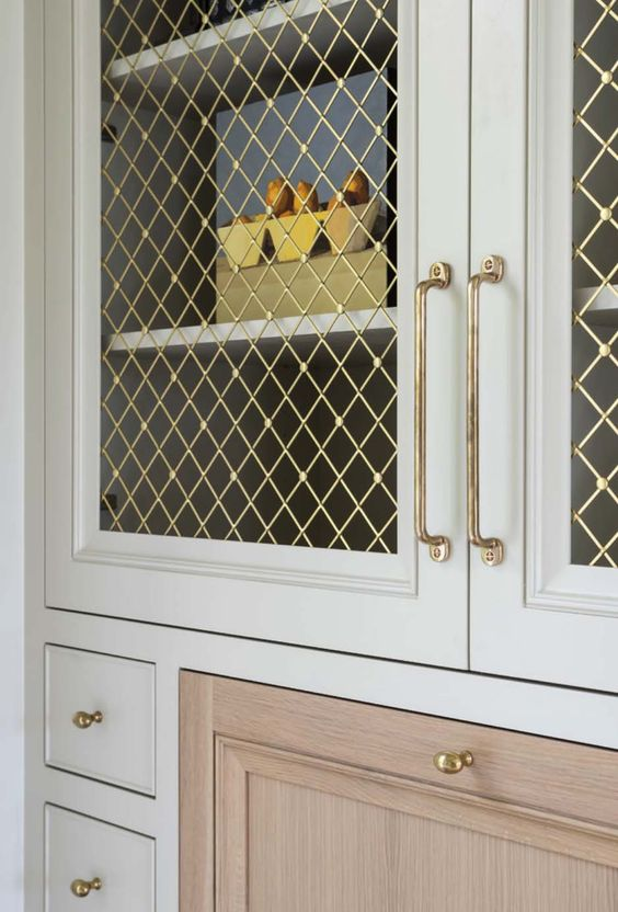 mint inset cabinet brass wire mesh insert unlacquered hardware