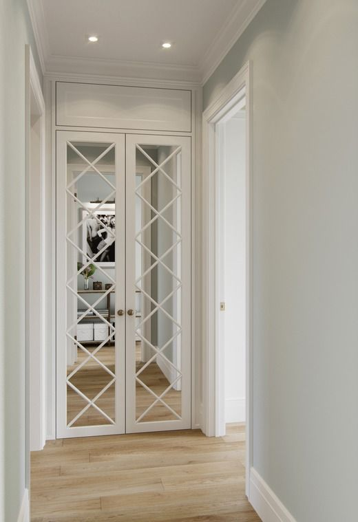 white french door cabinets with mirror and diamond mullion insert