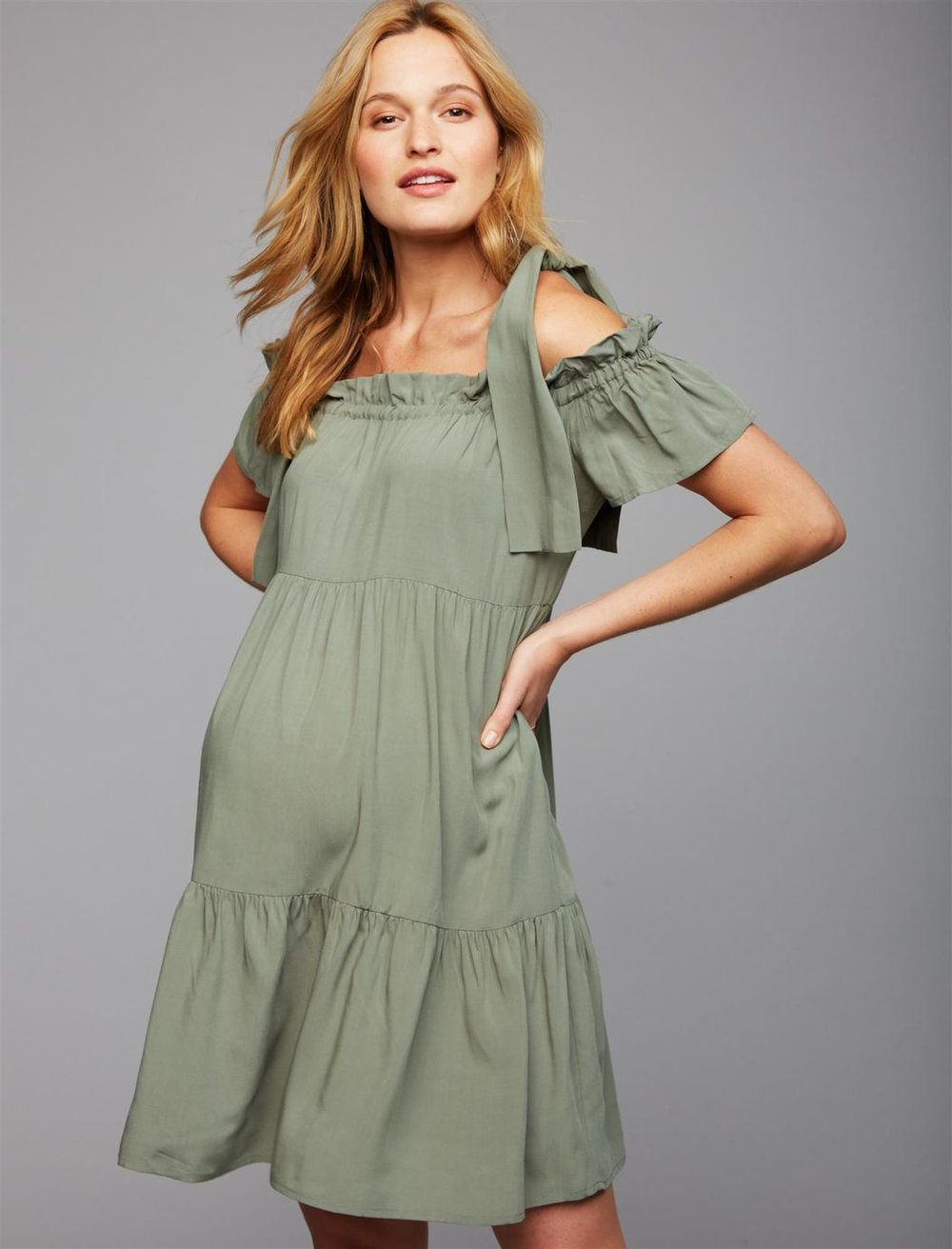 off shoulder maternity dress