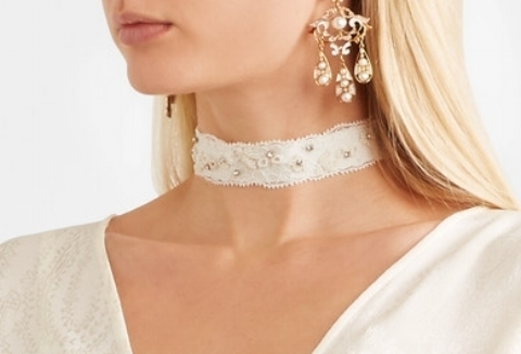 Etro embellished lace and grosgrain choker from NET-A-PORTER
