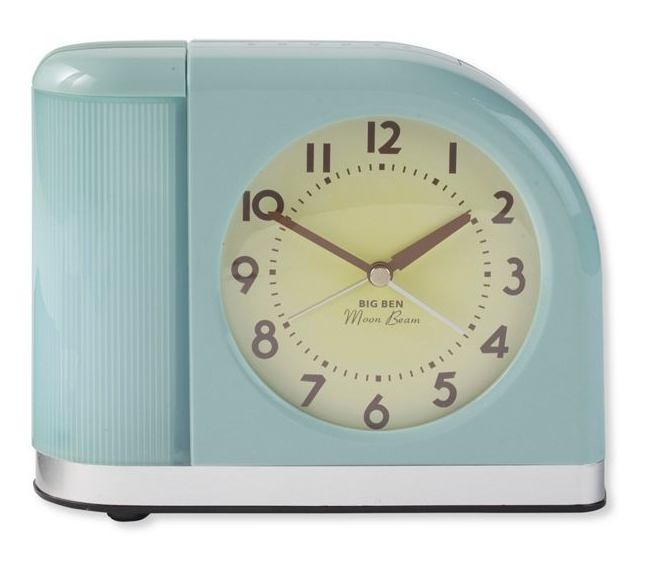 MOONBEAM ALARM CLOCK - I recently unpacked this clock from a box of old technology I have been holding onto for who knows why. Back in use, the clock now sits on my desk and provides a nice analog display among my 21st-century electronics. I always appreciate a classic, and this design has been around since 1952. The neat thing about the alarm is that it can wake sleepers up with a flashing light instead of a blaring noise, making for a much more pleasant start to your day.