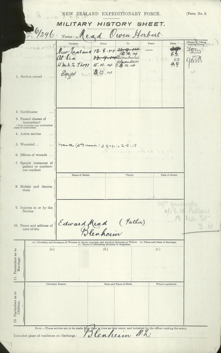 Mead O History Sheet