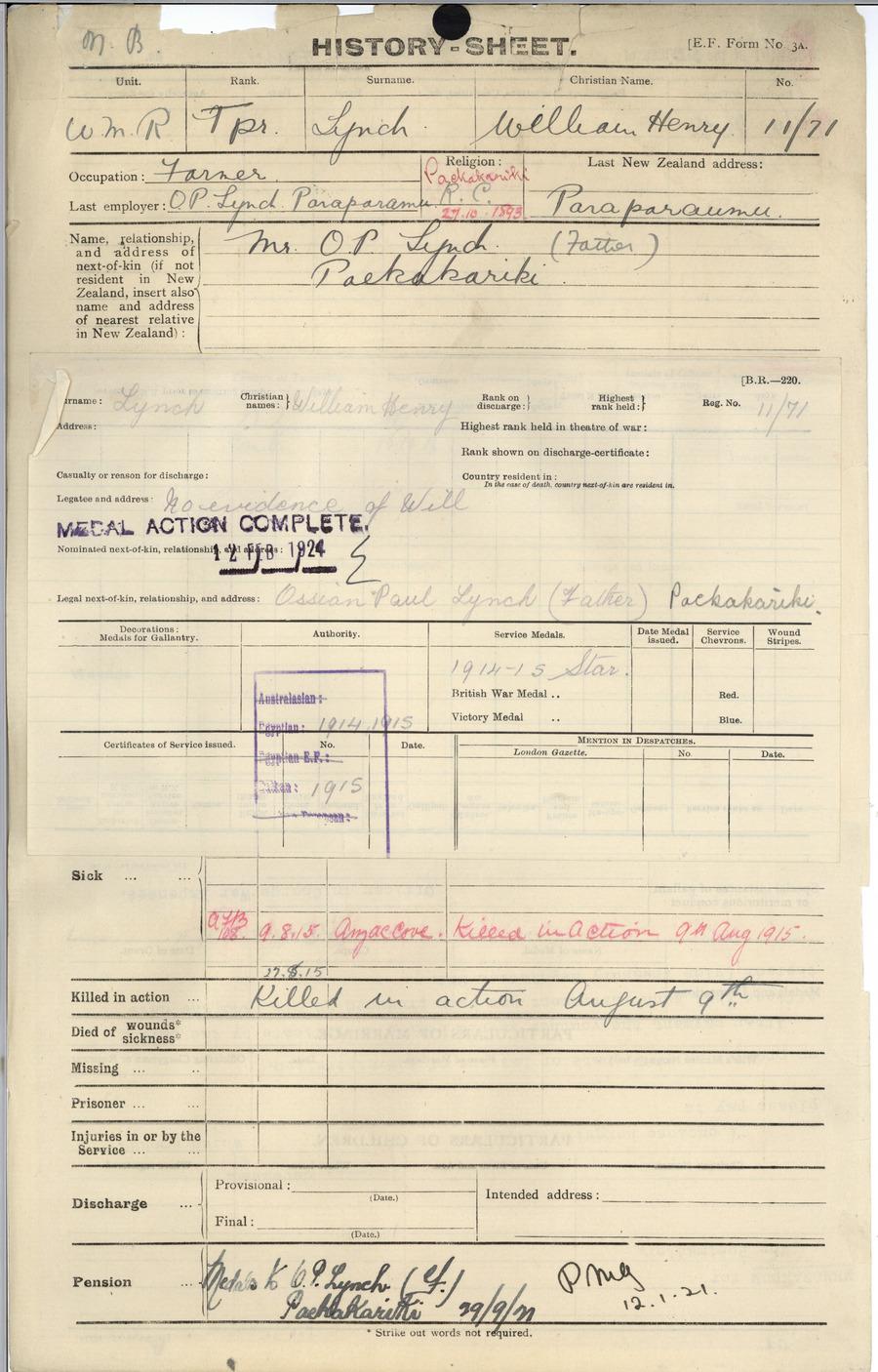 Lynch WH History Sheet
