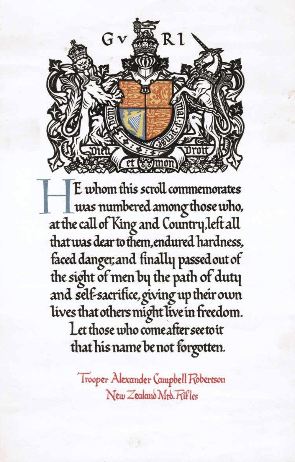 Alexander Robertson Scroll