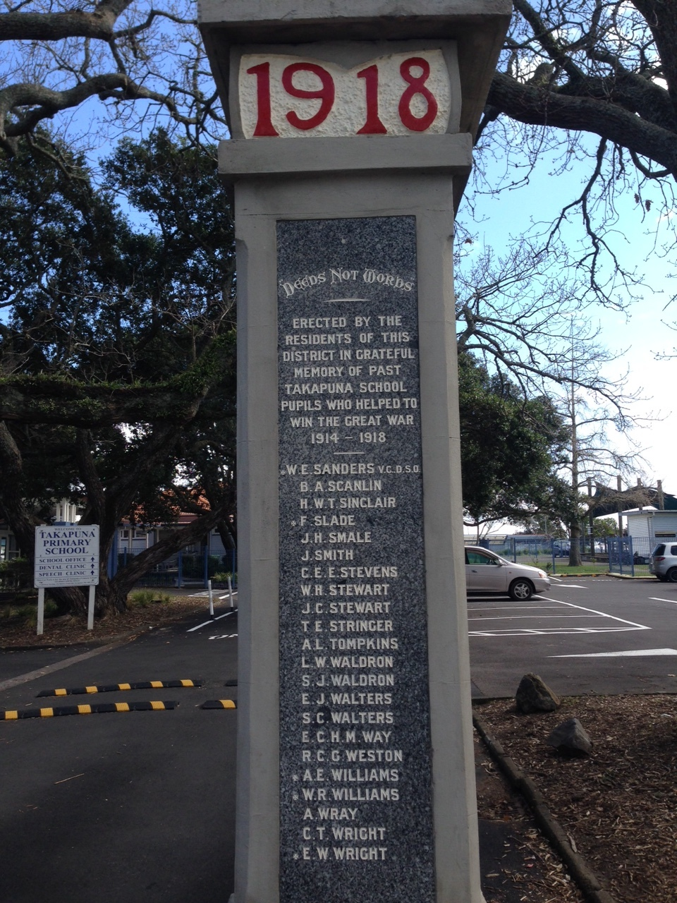 Takapuna School  - The Walking with an Anzac Team found the first clue in Athol's story when they visited Takapuna School.  The first thing that greets visitors to the school are the impressive memorial gates, where Athol's name is listed.   Further research on the same platforms you have used today allowed us to discover Athol's Story.