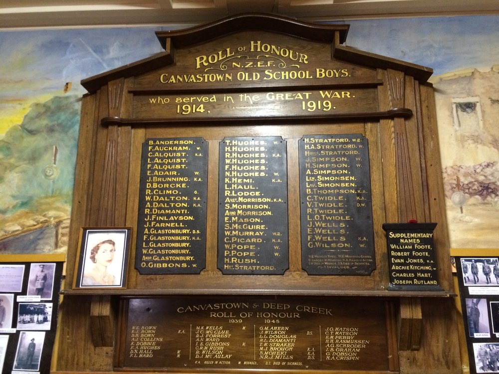 Marlborough Boy's & College Canvastown School - The Walking with an Anzac Team found the first clue in Owen's story when they visited Marlborough Boy's College and saw his name on the unfinished Roll of Honour. We then visited Canvastown School and saw his name on their Honours Board. Further research on the same platforms you have used today allowed us to discover Owen's Story.