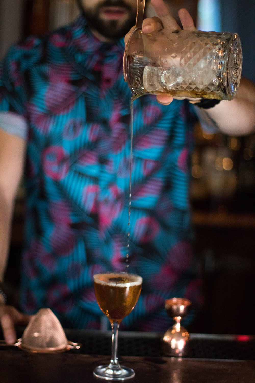 Bar Director, Kevin Baird, strains this perfect Manhattan riff into a Nick and Nora glass