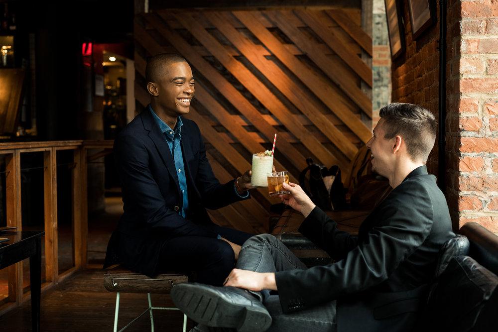 Igee Okafor and myself enjoying a couple cocktails at Porchlight. (Photo: Erik Parapar)