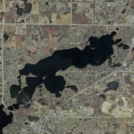 Lower Prior Lake - Surface Area: 940 acresTotal Shoreline: 14.74Average Depth: 14 feetMaximum Depth: 56 feetHigh Water Level: 903.90 feet above sea level