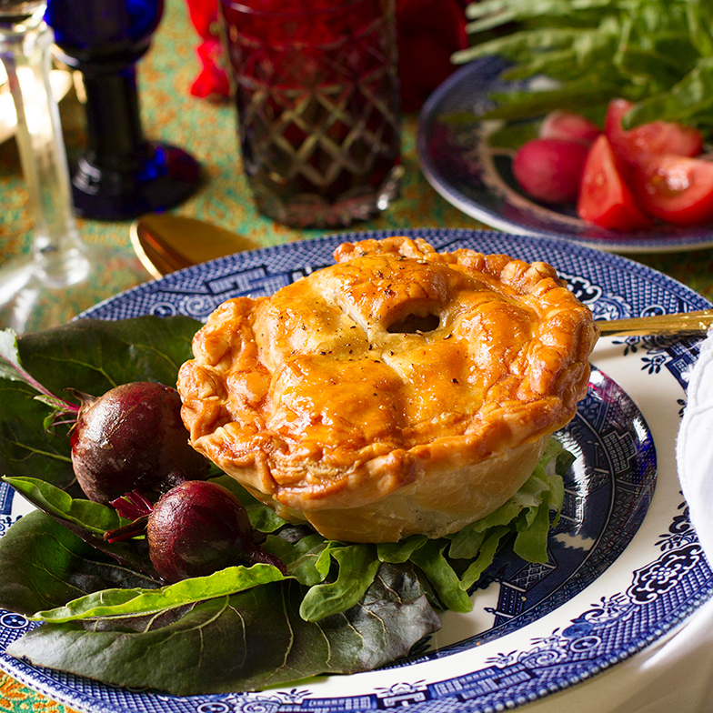 KITTELTY'S -  COQ AU VIN PIE  Bannockburn Free Range Chicken, Ballarat mushrooms & hot smoked bacon from Salt Kitchen Charcuterie braised in pinot noir with a bouquet garnish of home grown herbs & encased in pastry.   BEER MATCH:   Red Duck Beer Porter   Price:  $19 or $25 with beer  Gluten Free:  No  Where:  Kittelty's, 40 Lydiard St, Ballarat