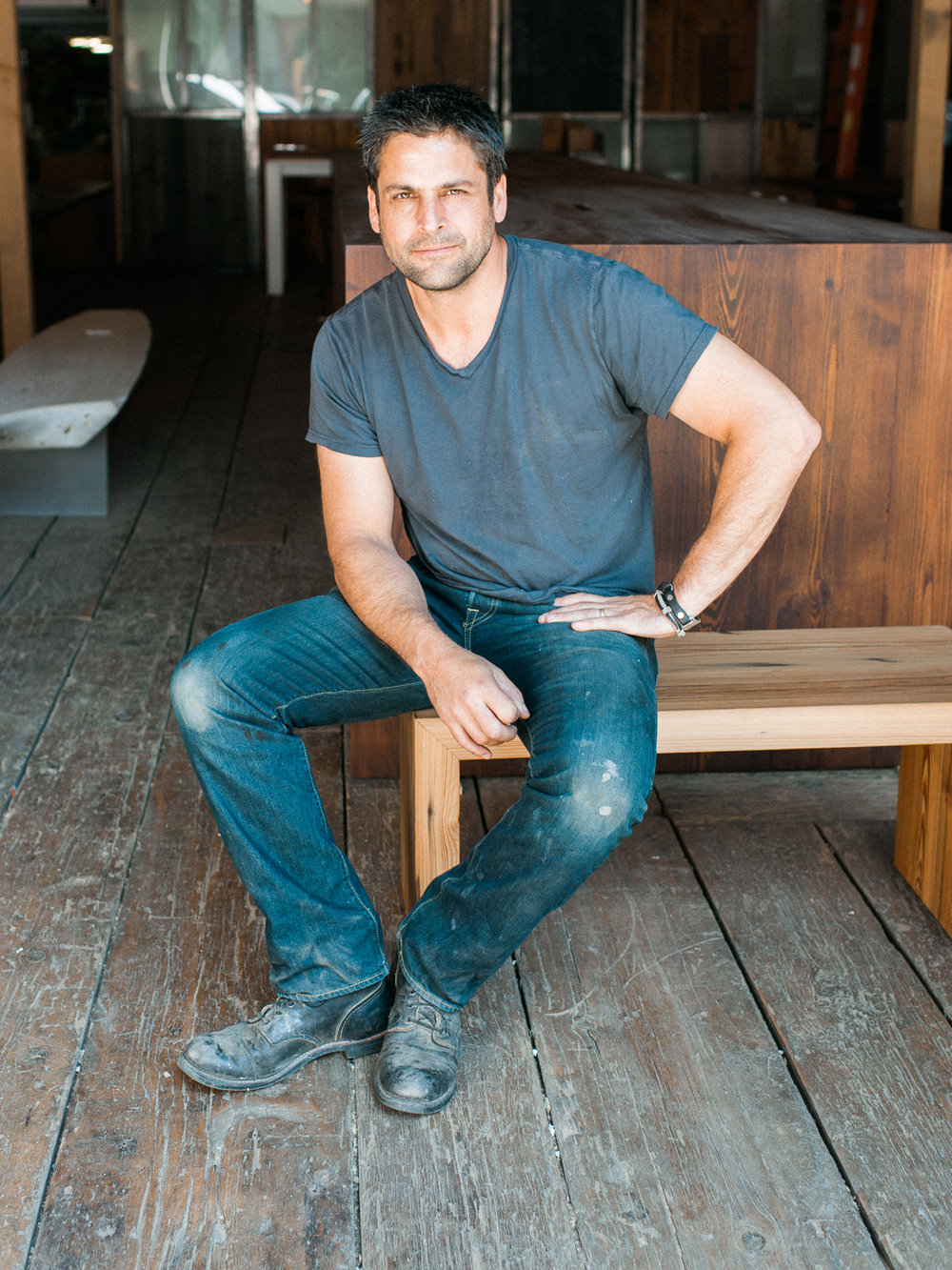 Mark Jupiter Designs DUMBO Brooklyn, NY custom reclaimed wood bench branding photo Lindsey Victoria Photography