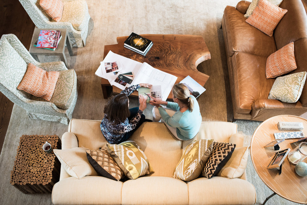 Karen Davis, Davos Raines Design, Interior Designer Lifestyle Branding Photos at work with clients birds eye view in Litchfield County Connecticut CT by Lindsey Victoria Photography